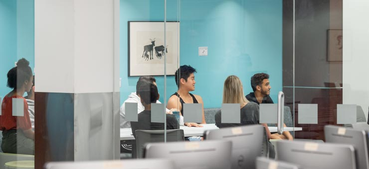 Students in the flex study space