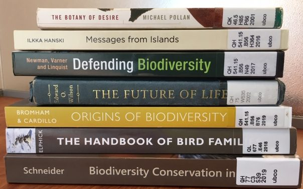 Stack of books on Biodiversity