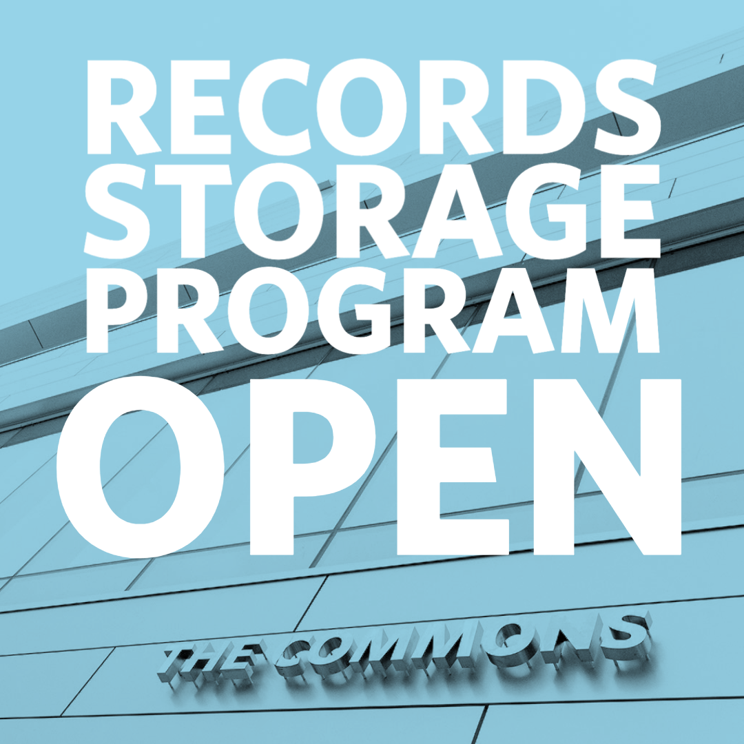 Records Storage Program Open: Image of the Commons building in the background