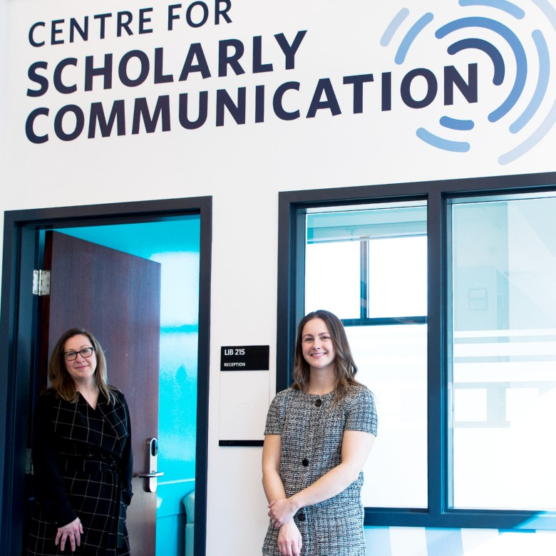 Amanda and Kristy outside of the Centre for Scholarly Communication offices
